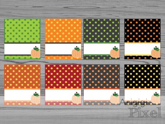 Printable Tent Card, Polka Dot, Pumpkin, Thanksgiving, Halloween, Fall Holidays Party Card, buffet card, Place Setting, edit text, download