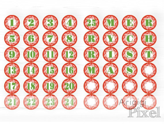 Printable Advent Calendar Numbers 1-25, Letters MERRY CHRISTMAS , Red ...