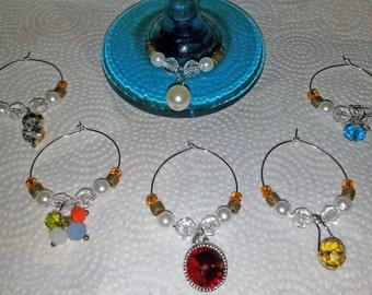Six Jewel Necklace Pendant Wine Glass Stem Rings  (I 125)