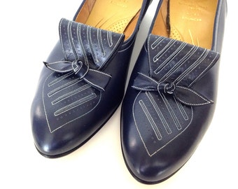Vintage Leather Shoes Navy Blue Size 7.5 Shoes Low Heel Comfortable Casual Shoes Made in England Brevitt Of Bond Street London