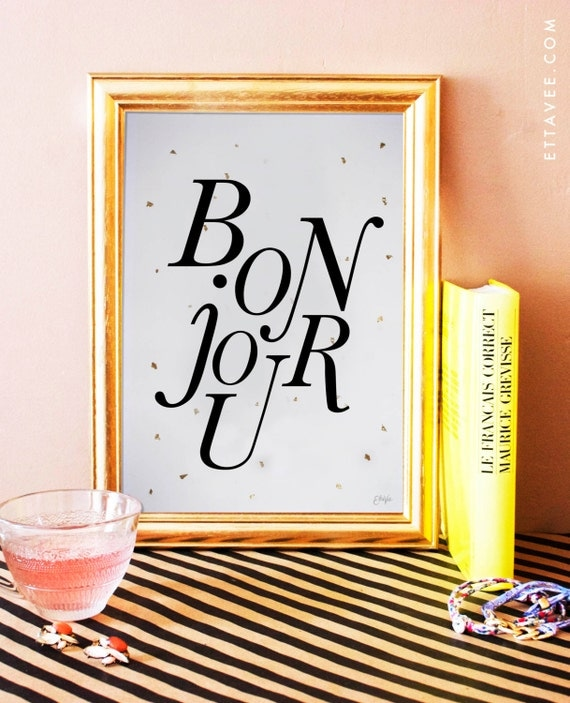 bonjour art print. french art print. french home decor. typographic poster. typography.
