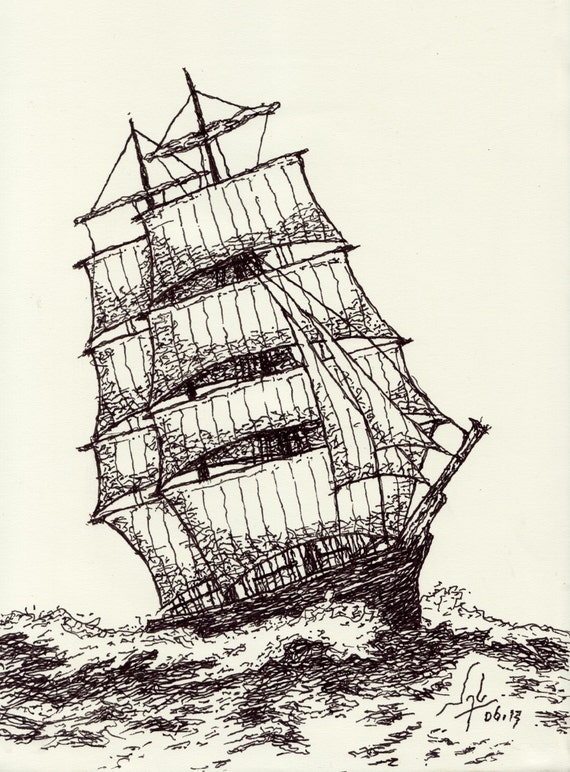Art Print Clipper Ship Pen Amp Ink