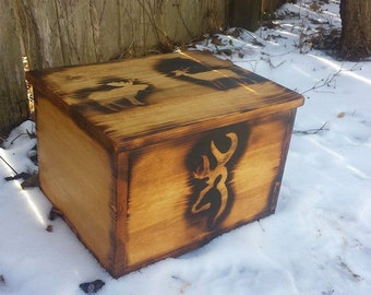 Fire Burned Art Wooden Cabin Hunting Themed Wood Hunter Storage Box Chest Man Cave Home Decor