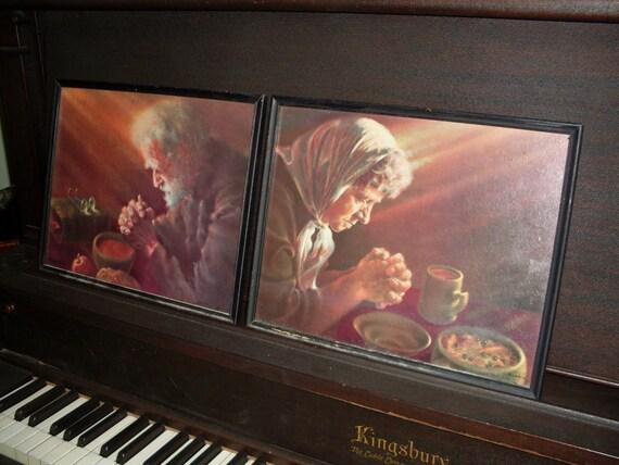 Woman Praying Painting Man And Praying Old Woman