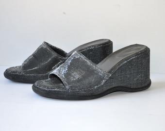 Vintage 90's Silver Platform Sandals