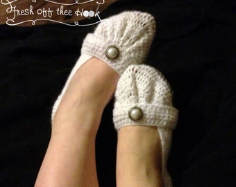 Custom Any Color Womens crocheted ballet flat bridal slippers Sizes 5-10