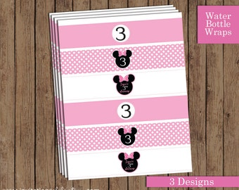 Minnie Mouse Water Bottle Labels - PRINTABLE - 3 Designs - Light Pink