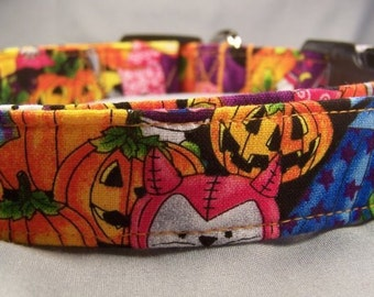 Halloween Dog Collar Colorful Pumpkins