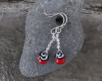 Valentine Red Glass and Crystal Earrings