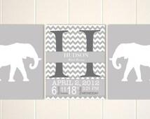 Baby boy nursery, elephant theme nursery, elephant wall art, baby monogram, birth details wall art, chevron, grey nursery, Set of 3