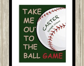 Baseball wall art, boys sports art, take me out to the ball game, baby boy nursery art, baseball themed poster