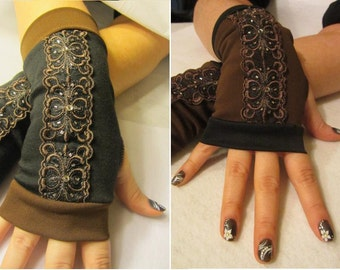 Beth: Sequined Brown & Black Fingerless Mitts