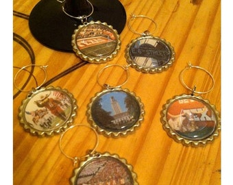 University of Texas landmark wine glass charms