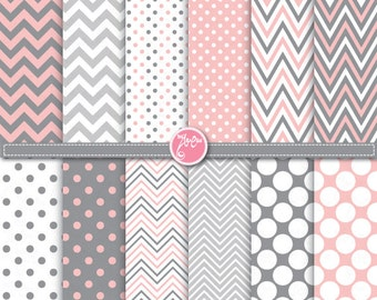 """Pink Grey Polka Dot and Chevron Digital Paper Pack,""""POLKA DOT and CHEVRON"""" Clipart printable for Scrapbooking,Party paper,Invitations Dp076"""