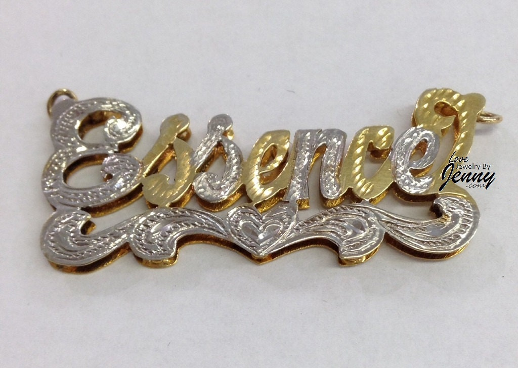 14k gold overlay 3d double plate name necklacefree