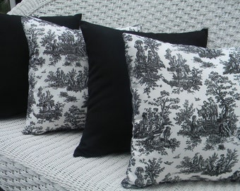"""SET OF 4 Pillow Covers - 20"""" x 20""""  Indoor / Outdoor Pillow Covers - 2 Black and White Jamestown Toile & 2 Solid Black"""