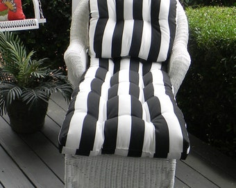Chaise lounge etsy for Black and white striped chaise lounge cushions