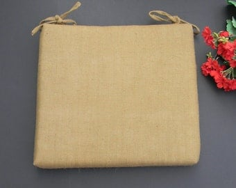 Shabby Tan Burlap Jute Universal Chair / Seat Cushion Pad with ties - Choose Size & Foam Thickness