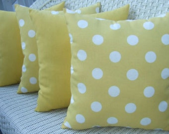 """Set of 4 - 17"""" x 17"""" Indoor / Outdoor Decorative Throw Pillows - 2 Yellow and White Polka Dot & 2 Solid Yellow Pillows"""