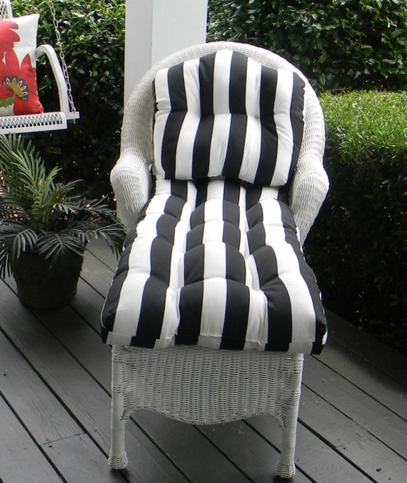 Indoor outdoor tufted cushion 2 piece set for wicker chaise for Black and white striped chaise lounge cushions