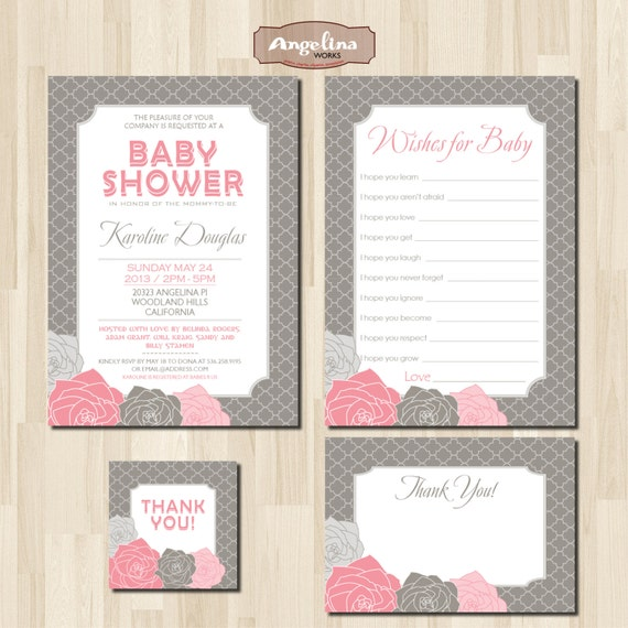 pink and gray baby girl shower invitation pack diy card digital