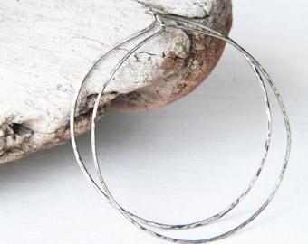 Silver Hoop earrings - hammered earrings - oxidized silver - large hoop earrings