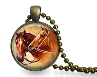 Equestrian necklace vintage horse pendant equine art charm.