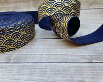 5/8 Navy SCALLOP Gold Foil Fold Over Elastic