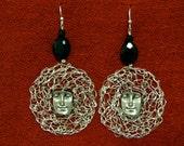 Art face wire crochet earrings