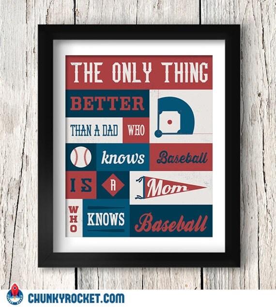 A Mom Who Knows Baseball Typography Art 8x10 Inch Home Decor Baseball