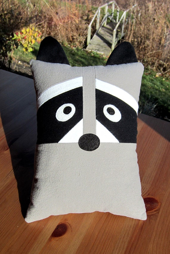Fox & Raccoon Pillow Toy Pattern PDF Sewing Tutorial Baby Felt Animal, Tooth Fairy Pocket Accent ...