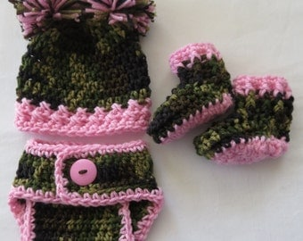 Baby girl Camo Hat, Diaper Cover, Booties, Photo Props, preemie, available in newborn, 0-3 mo, 3-6 mo, pompom hat, booties, shower gift