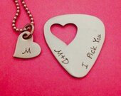 I Pick You Guitar Pick with Initial Heart Necklace- Hand Stamped Stainless Steel - Gift Wedding Anniversary