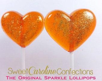 Heart Lollipops, Orange Wedding Favor, Party Favors,  Autumn Wedding, Heart Candy, Lollipops, Sweet Caroline Confections-Set of Six