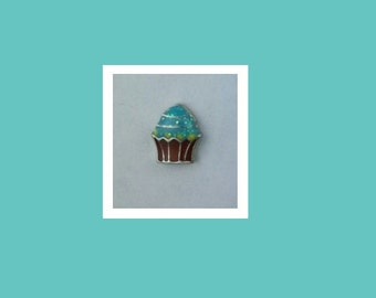 Chocolate Cupcake Blue Glitter Frosting  ANC022  Floating Charm for Glass Memory Lockets