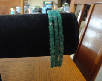 Memory Wire Bracelet-Frosted Green Seed Beads