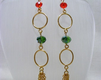 Red and Green Crystal Long Earrings
