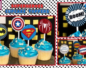 "INSTANT DOWNLOAD PRINTABLE Superhero Cupcake Toppers - 2"" Party Circles Birthday Party Circles - Digital pdf file"