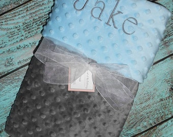 Baby Boy Personalized Grey and Blue Minky Stroller Blanket