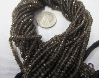 NATURAL SMOKY QUARTZ  Rondelle Bead1/2 string 7 inches Luxury,Elegent aaa Quality 3.50 mm