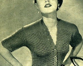 Vintage crochet pattern cardigan, the 50 s, DIY, PDF file