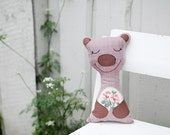 SALE Plush toy, Happy teddy bear  with red flowers, brown, for baby, for kids