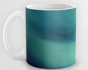 Mug - Underwater - Deep Blue Sea (abstract)  - Turquoise White Art Kitchen 11oz 15oz ceramic
