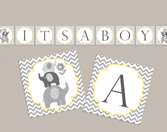 Boy Baby shower banner It's a boy baby shower decorations boy baby shower banner elephant baby shower banner (87)