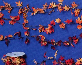 6 Feet Mini Autumn Leaf Garland - Maple Leaf or Oak Leaf Style