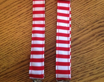 Red and white stripe suspenders. Newborn to 10yrs