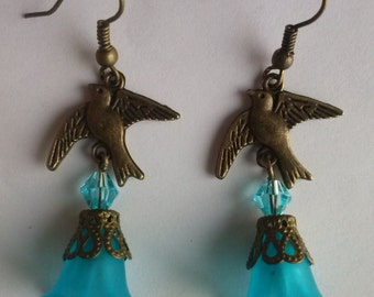 bird earrings choose lucite flower