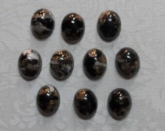 Acrylic gold fleck 10x8mm cabochons,10pcs-CAB16A