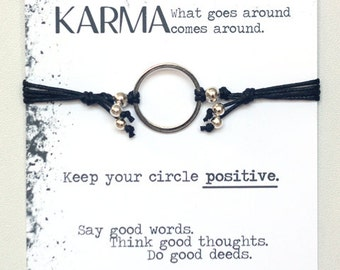Best Selling Karma Bracelet- Black and Silver Bracelet, Karma Ring, Yoga Bracelet, Positive Energy Bracelet, Inspirational Gift,