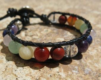 Chakra Wrap Bracelet - overall Chakra health, Adjustable leather & Gemstone Wrap, Japer, Calcite, Lapis, Amethyst, Rose Quartz, Aventurine